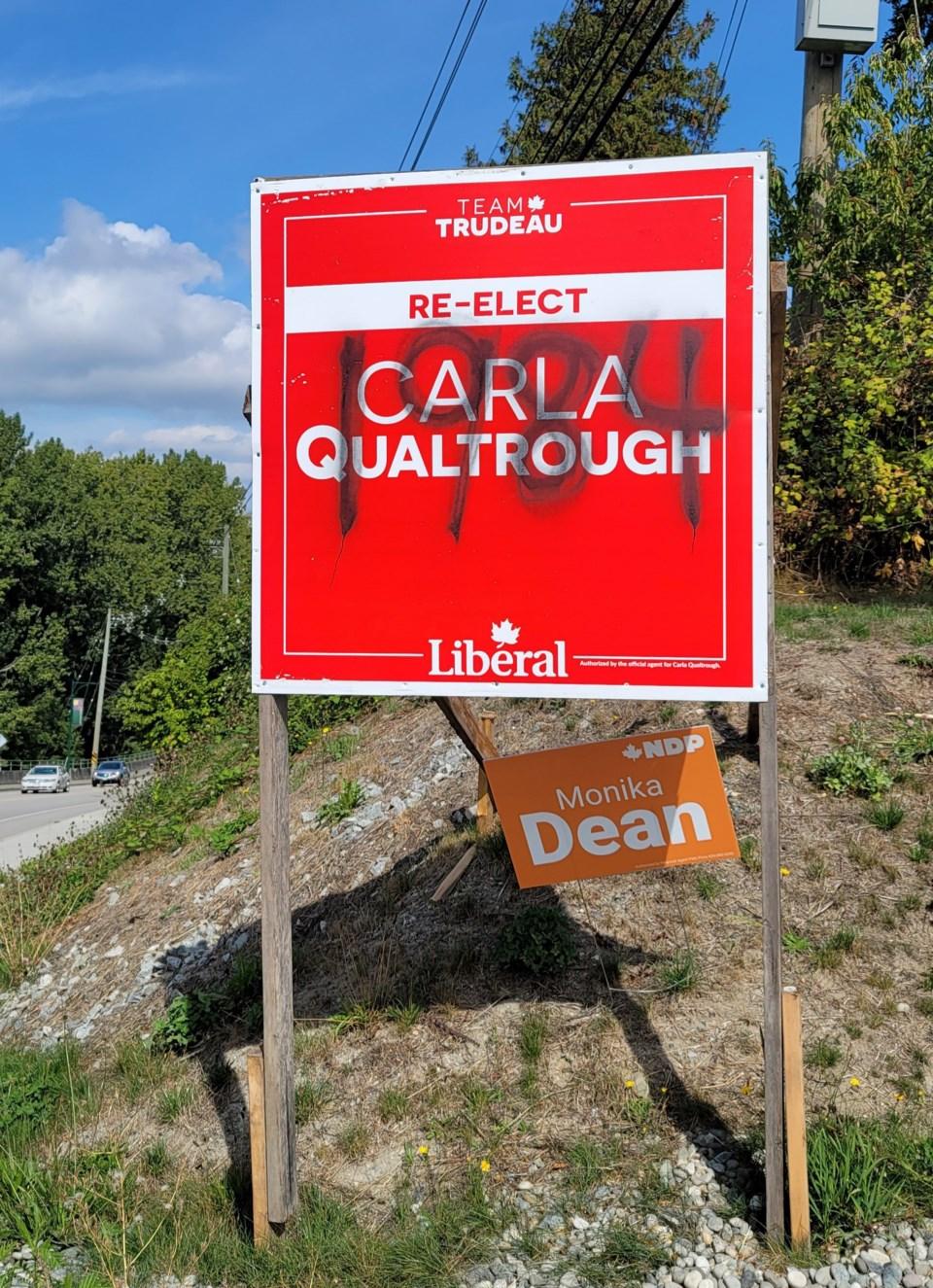 Qualtrough signs vandalized