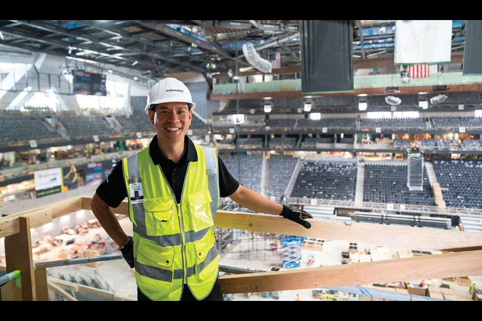 DSS grad Geoff Cheong inside Climate Pledge Arena in Seattle, a venue he has spent the past four years working on as principal architect for Kansas City-based Populous.