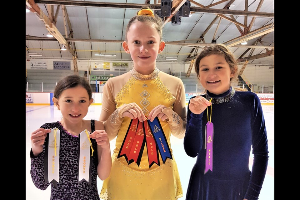 Provided photo shows Charlotte Parsons, Davina Weber and Khloe Duchesne, members of the Elliot Lake Figure Skating Club