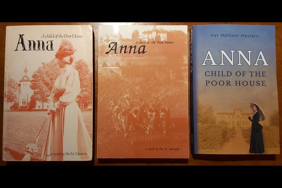 The three different book covers for Anna: Child of the Poor House. At left is the original cover, published in 1981, A revised cover was created for the 2005 re-print (centre). The latest version is for sale now, re-published earlier this year.