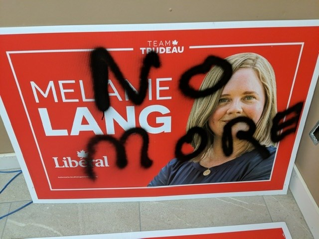 Melanie Lang's campaign manager said he's never seen this scale of sign vandalism in all previous campaigns he has been involved in.