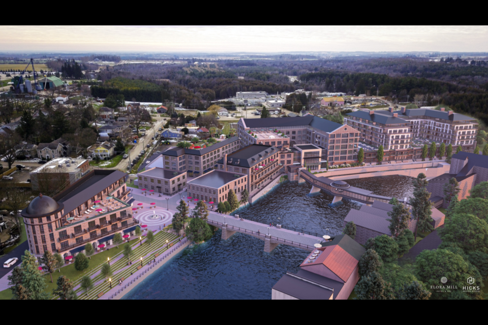 A rendering of the overall development at the Elora Mill lands.