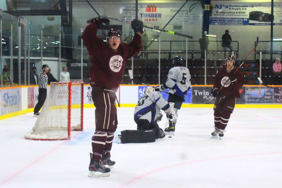 Bomber Jesse Swanson celebrates after scoring a third period goal against the OCN Blizzard Sept. 11. The Bombers would win the game 4-1.