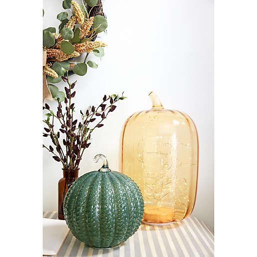 Glass pumpkins for LED lights.