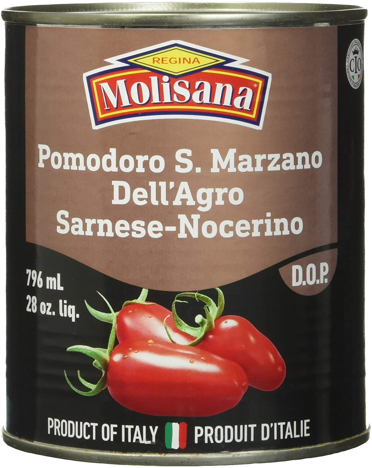 San Marzano tomatoes with DOP seal.