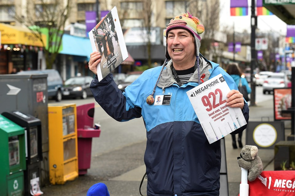"""Every Friday from 12 to 8 p.m., Stephen Scott is on the corner of Thurlow and Davie to sell copies of Megaphone, a weekly newspaper that gives voice to the homeless. Sometimes he's there Wednesdays as well but """"I never miss a Friday."""""""