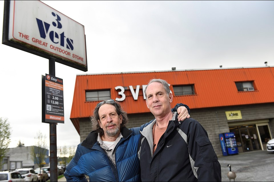 3 Vets co-owners Jerry (left) and Keith Wolfman are pulling the plug on their long-serving Yukon Street outdoor equipment store. Photo Dan Toulgoet