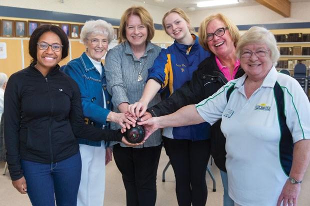 In Tsawwassen, world youth lawn bowling champ Priscilla Westlake (left) is joined by Joyce Nightingale, former MLA Vicki Huntington, up and coming lawn bowler Emma Boyd, Coun. Sylvia Bishop and Paulina Mushens.