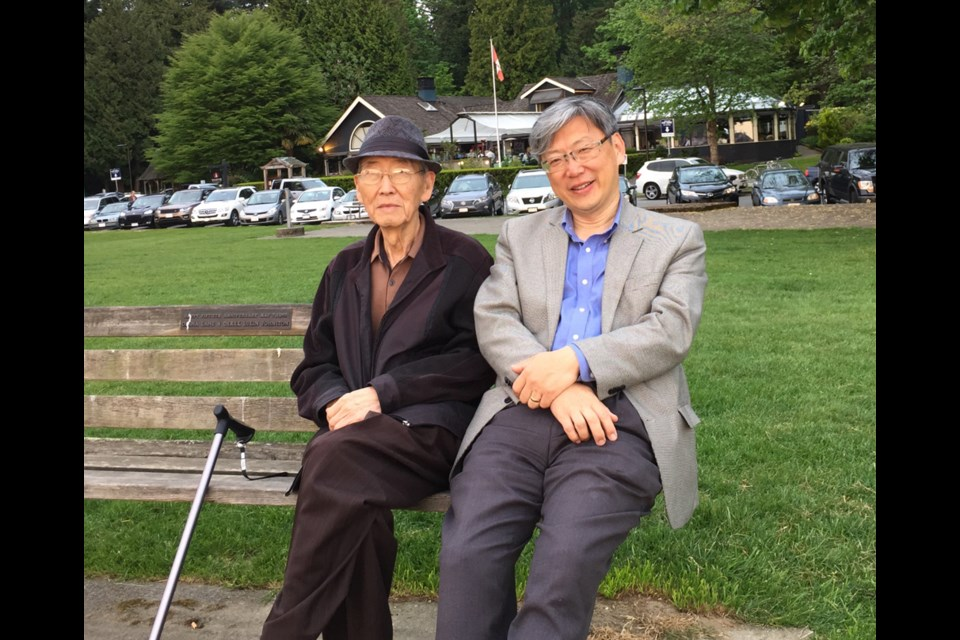 The late Jung Eun Hwang, left, with his son Michael. Hwang died last year at the age of 87, partially due to a lack of culturally-sensitive residential care, according to Michael.