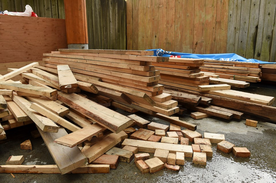 Callahan Tufts collected wood from transfer stations to use to build his tiny house. Photo Dan Toulg