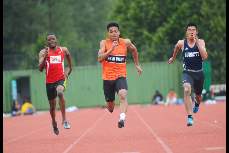 With a win in the 100, 200 and 4x100-metre relay at the zone championships two weeks ago, New Westminster's Ben Tjernagel will be busy this weekend going for provincial gold in Langley.