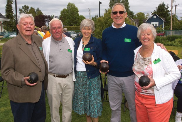 Ladner Lawn Bowling Club president Garry Parenteau (second from right) is joined by past presidents (from left) Matt Yole, Jack Sutton, Dana Cullis and Barbara Sutton at a Centennial Celebration earlier this month.