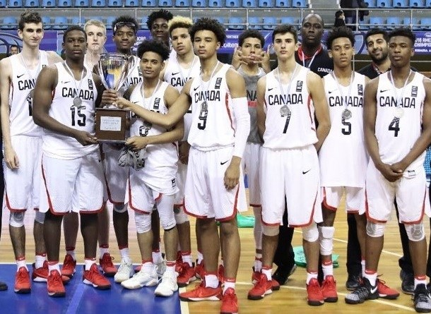 Richmond's Victor Radocaj (far left) and his Canadian teammates accept their runner-up trophy and medals at the U16 FIBA Americas Championships in Argentina.