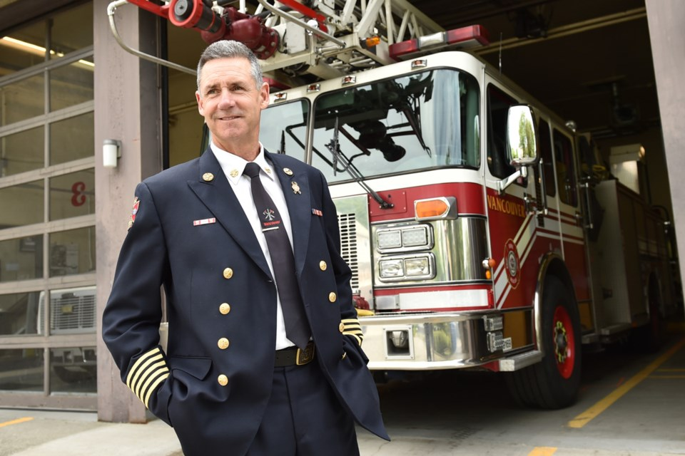 Fire Chief John McKearney has led Vancouver Fire and Rescue Services for eight years. He retires June 30 and will be replaced by Darrell Reid. Photo Dan Toulgoet