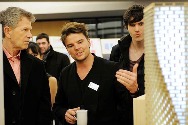 Architect Bjarke Ingels speaks with the public at an open house UBC Robson Square Feb. 21 for the proposed Westbank development he designed.