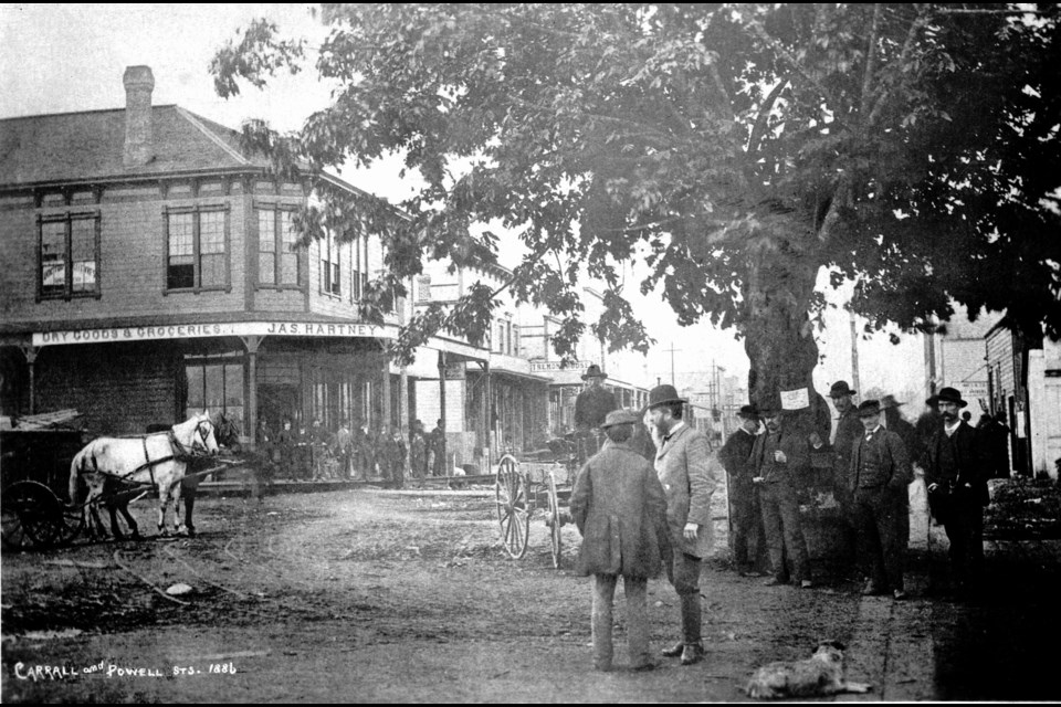 A group of men stand around the old maple tree in Gastown in 1886. The photo was taken at Water and Carrall Street, with the steps of the old Deighton House Hotel at the far right. PHOTO City of Vancouver archives