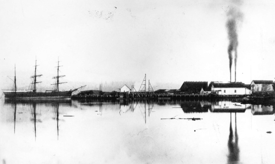 A view of Hastings Mill, which operated in Burrard Inlet at the foot of what is now Dunlevy Avenue i