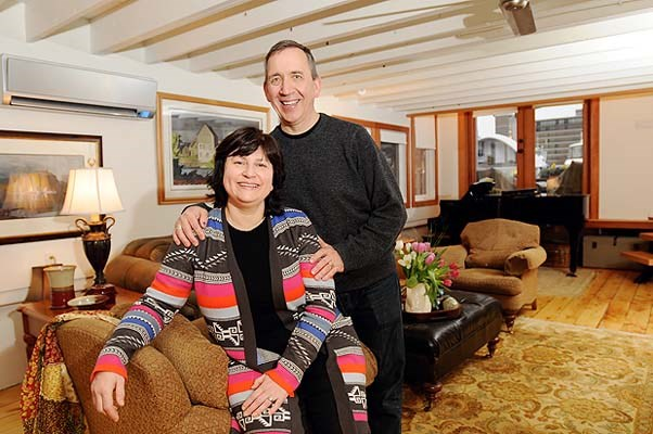 Bev and Greg Kochuk in their floating home in Coal Harbour.