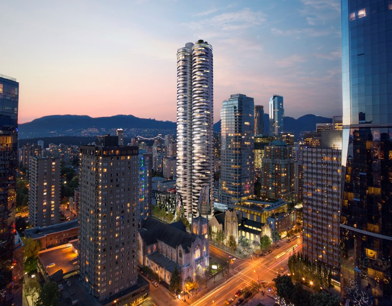 An artist's rendering of the proposed tower adjacent to First Baptist Church at Burrard and Nelson. Illustration Bing Thom Architects/Westbank