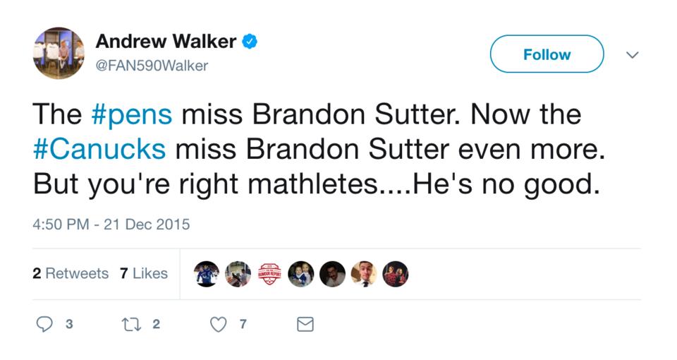 Andrew Walker likes Brandon Sutter, doesn't like mathletes