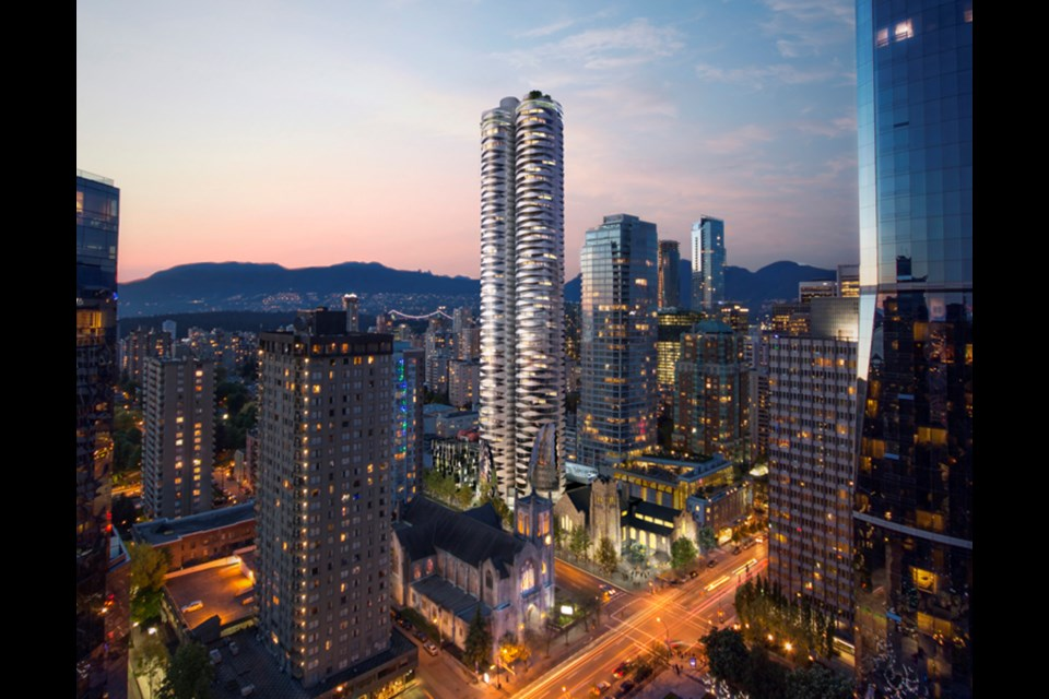 Westbank was given permission to build two towers on land next to First Baptist Church at Nelson and Burrard.
