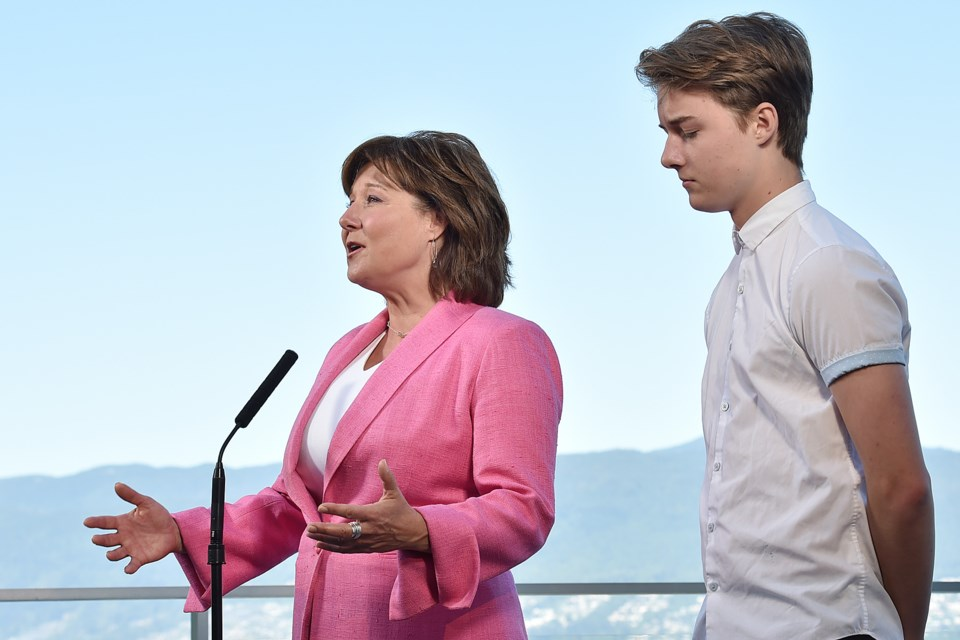 Christy Clark, pictured with her son Hamish