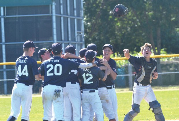 Delta Tigers celebrate their 5-2 win over Richmond on Sunday for their second straight B.C. Baseball Bantam AAA 15U provincial title.