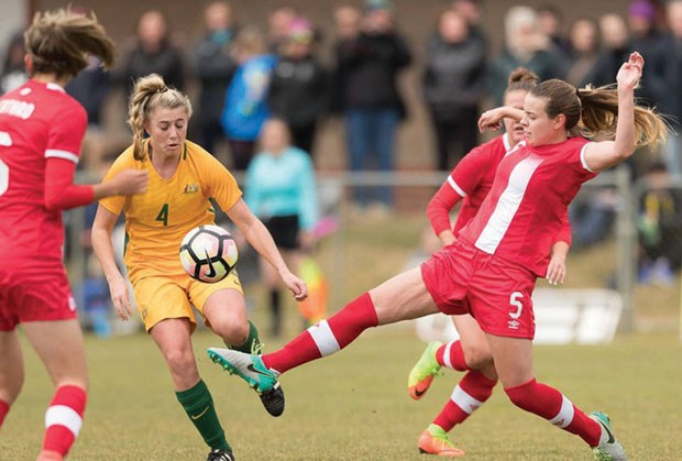 Tsawwassen's Olivia Sheppard (5) was in the U20 national team's starting 11 for an international friendly last month against Australia in Sydney.