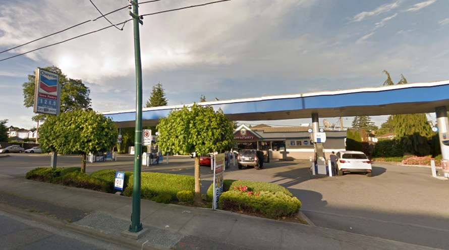 Chevron location at 41st Avenue and Oak Street.   Google Maps