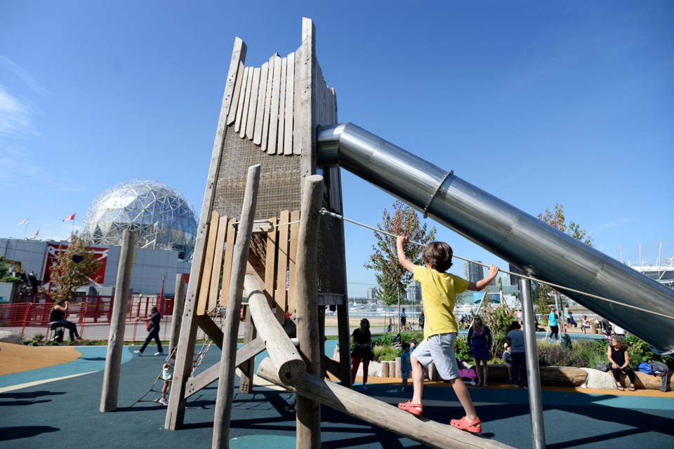 The new playground at Creekside Park, next to Science World, measures more than 1,700 square metres. It's the largest and most accessible playground in the city, according to the park board. Photo Jennifer Gauthier
