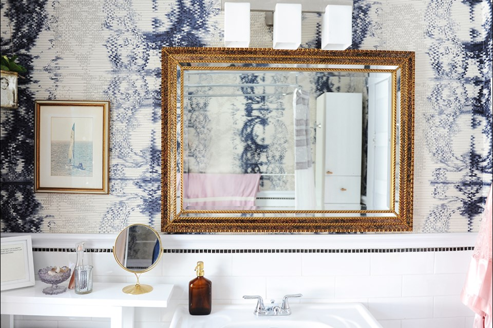 Shibori-effect ribbed vinyl wallpaper resists moisture, and so is an ideal choice for bathrooms. Contributed photo
