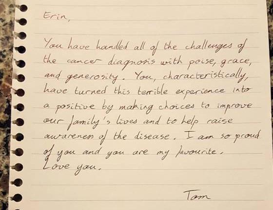 Erin Barrett note from husband
