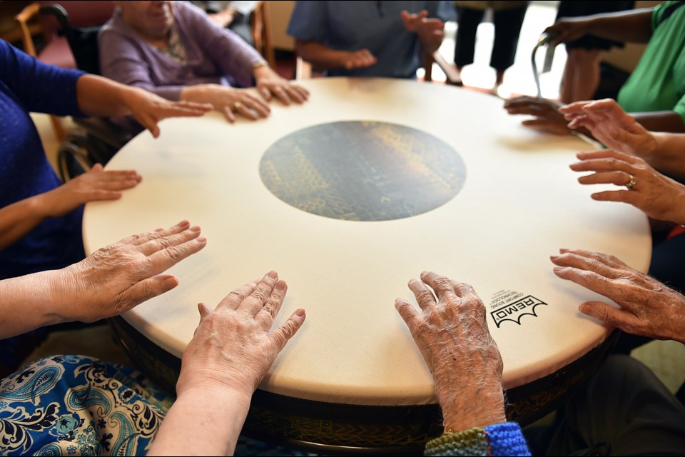 A large drum at Youville Residence on Heather Street plays an important role in the music therapy sessions held there. Photo Dan Toulgoet