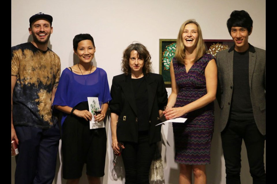 Artists (from left) Lucien Durey, Anchi Lin, Barb Choit, Sunshine Frère (curator) and Kevin Day. Photo submitted