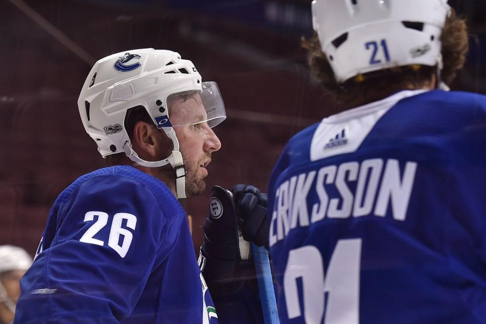 Thomas Vanek and Loui Eriksson at Canucks practice