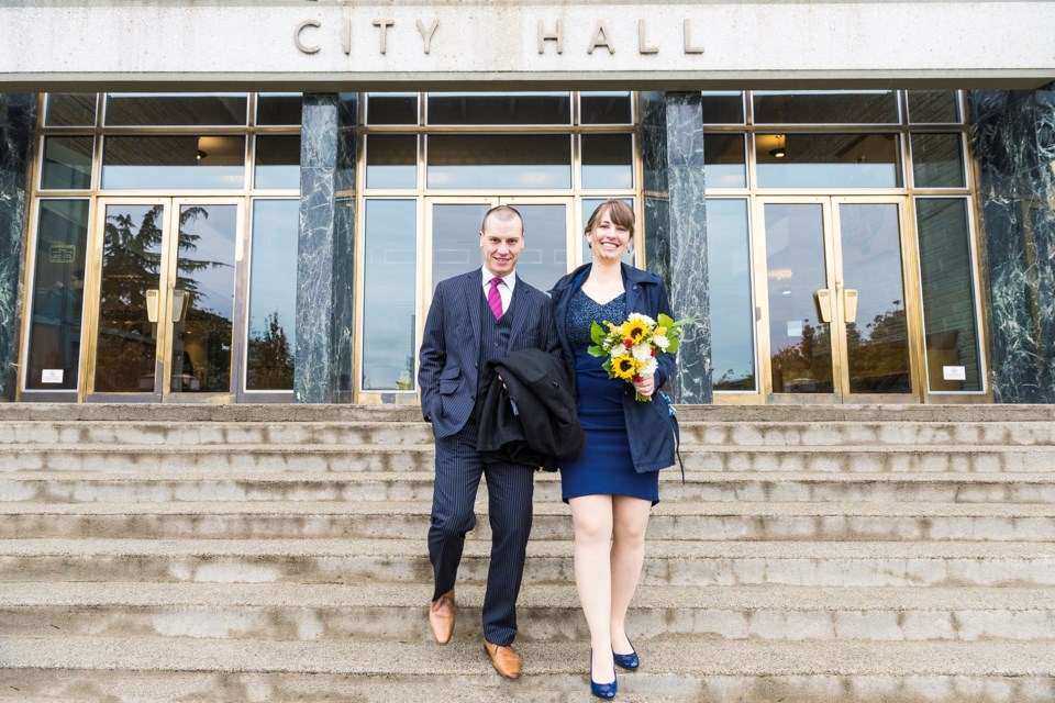 Jennifer Wolowic and Simon Le Pine got married in the mayor's office at New Westminster City Hall on Monday. Their love affair with all things New West carried on for the rest of the day and included stops at friends' homes and some of their favourite spots around town.