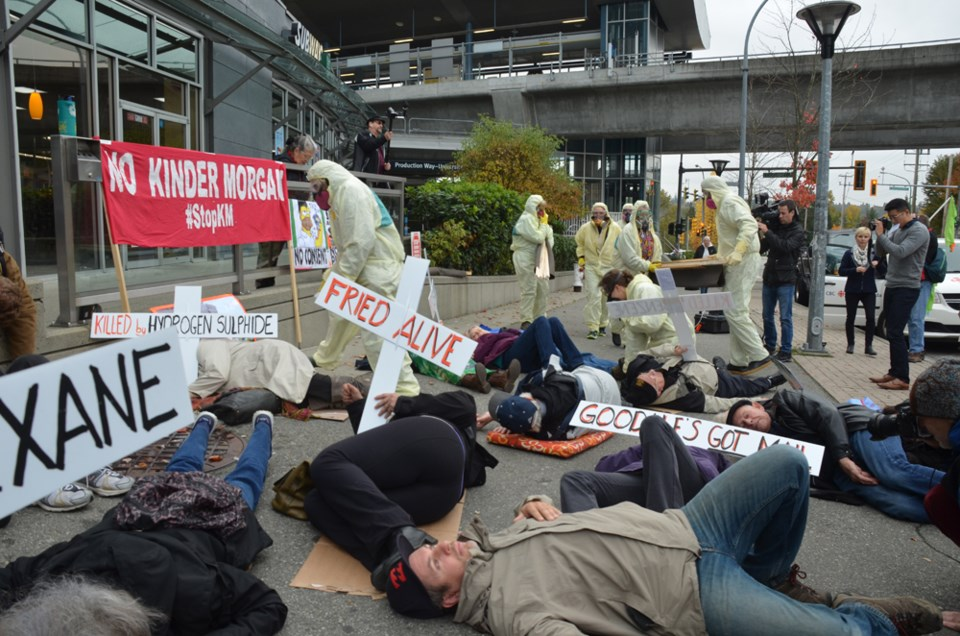 die-in, protesters, production way