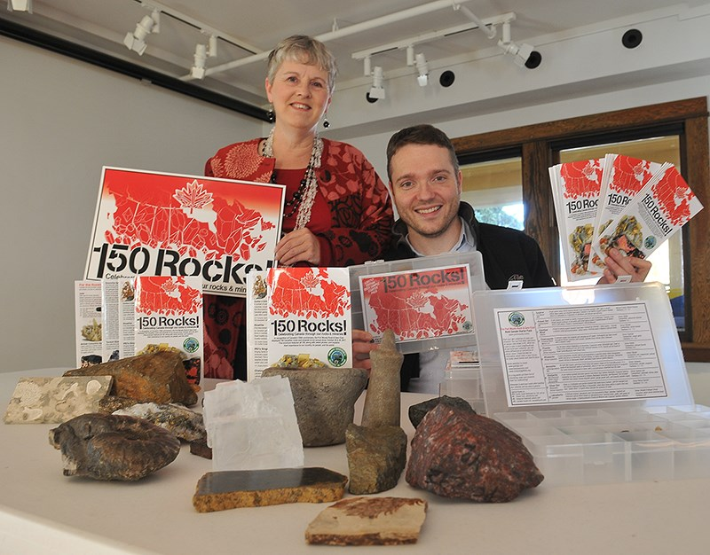 Rose Kapp and Andrew Danneffel of the Port Moody Rock and Gem Club — which this year marks its 50th anniversary — with some of the minerals, gems and artifacts that will be on display this weekend at the Kyle Centre. The group show celebrates Canada 150 with specimens from each of the country's provinces and territories.