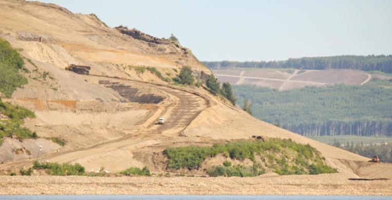 Construction at the Site C dam site.