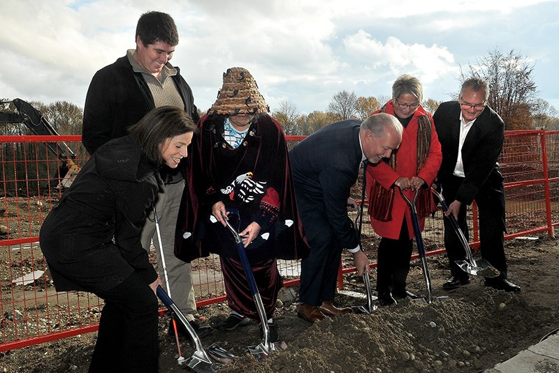 MARIO BARTEL/THE TRI-CITY NEWSGovernment and First Nations officials, including BC Premier John Horgan, Judy Darcy, the minister of mental health and addiction, and Selina Robinson, the MLA for Coquitlam-Maillardville and minister of municipal affairs and housing, turn the soil on Friday for construction of a new mental health and addictions centre that will be built on the Riverview lands.