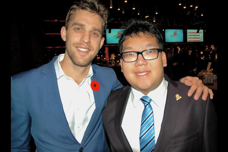 Canucks Forward Brandon Sutter and Special Olympics athlete and spokesperson Alexander Pang welcomed guests to the Sports Celebrities Festival fundraiser staged at the Vancouver Convention Centre.