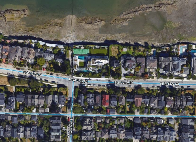 With its waterfront view, tennis courts and swimming pool, Chip Wilson's Point Grey Road property is once again the highest assessed property in B.C. at a cool $78.8 million.