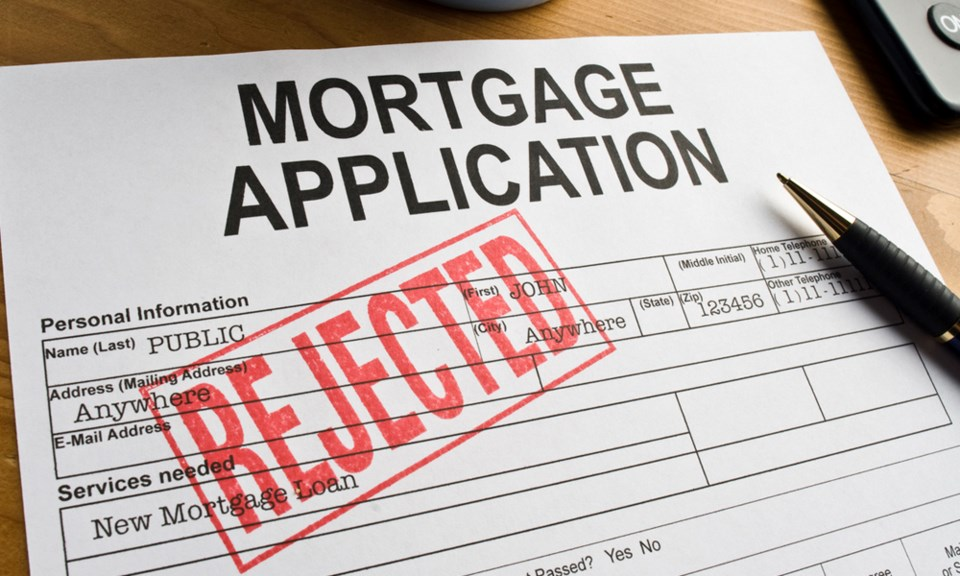 Mortgage application form rejected denied declined
