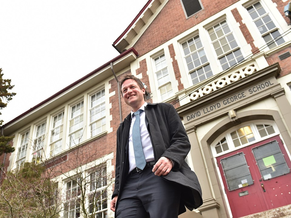 Education Minister Rob Fleming held a news conference Monday at David Lloyd George Elementary at 837
