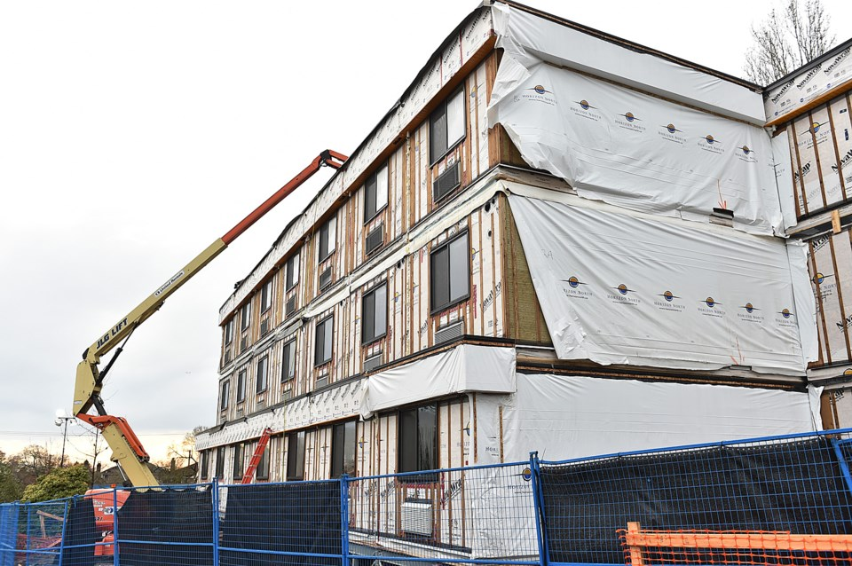 A 78-unit temporary modular housing complex will open next month at West 59th Avenue and Heather Str