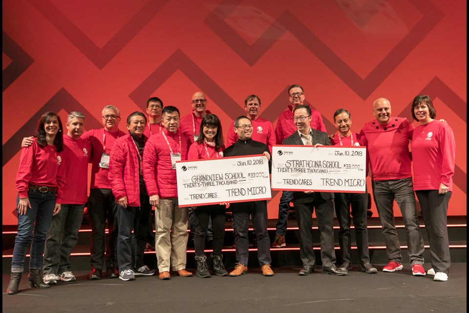 Trend Micro donated $33,000 to two Vancouver schools as part of their recent sales kick-off gathering. Tourism Vancouver says was the largest donation associated with a convention in the city.