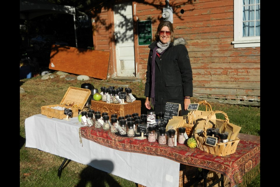 Lisa Rainbird selling herb salts on Bowen Island.