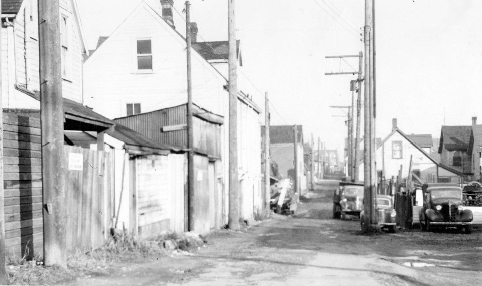 A view of Hogan's Alley in 1958. Photo City of Vancouver Archives P508.53