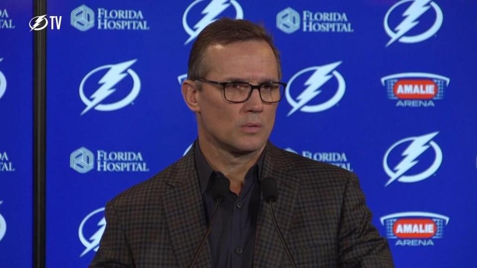 Tampa Bay Lightning GM Steve Yzerman addresses the media