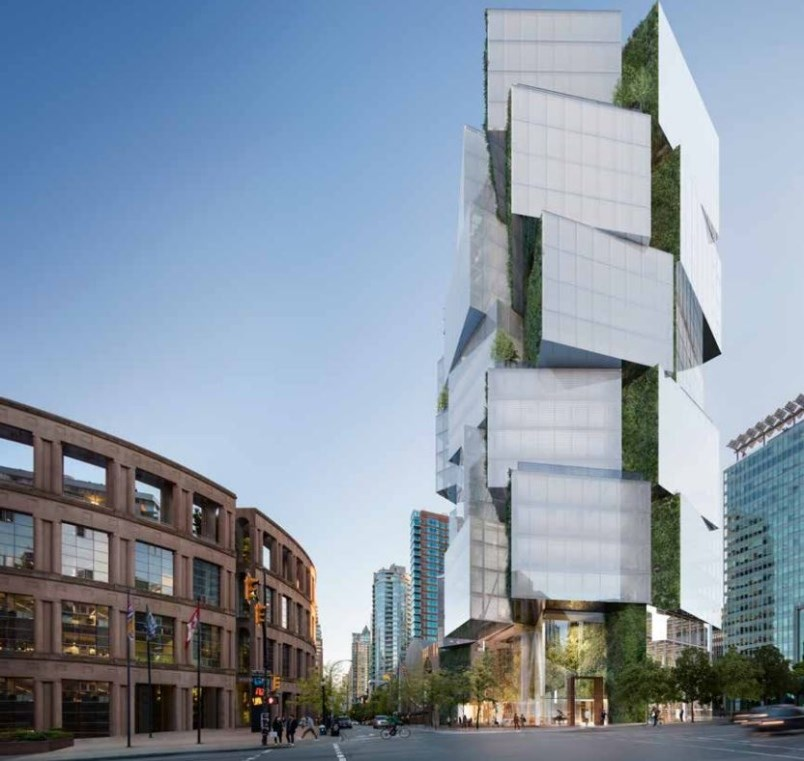 Council has approved a 24-storey office tower for a site across from library square. Artist renderin